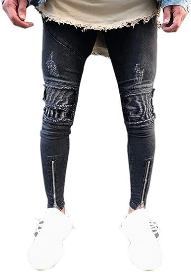 maweisong メンズストレートレッグジッパーストレッチ膝破壊リッピングホールスキニーフィットデニムパンツ