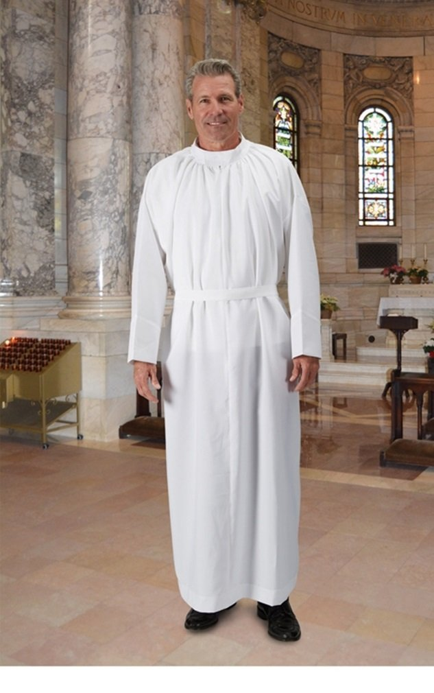 R.J. Toomey White Plain Light-Weight Self-Fitting Clergy Alb (Medium)