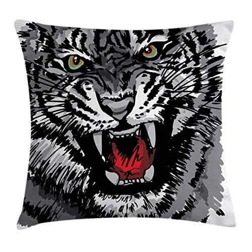 Ambesonne African Throw Pillow Cushion Cover, Image of Safari Tiger Territorial Predator Power with Unique Patterns Print, Decorative Square Accent Pillow Case, 18 X 18 inches, Grey Black White by Ambesonne (Image #1)