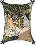 Limited Edition RARE Handmade Wool French Painting Claude Monet Women in the Garden Impressionist Artwork Decorative Needlepoint Throw Pillow. 14'' x 18''.