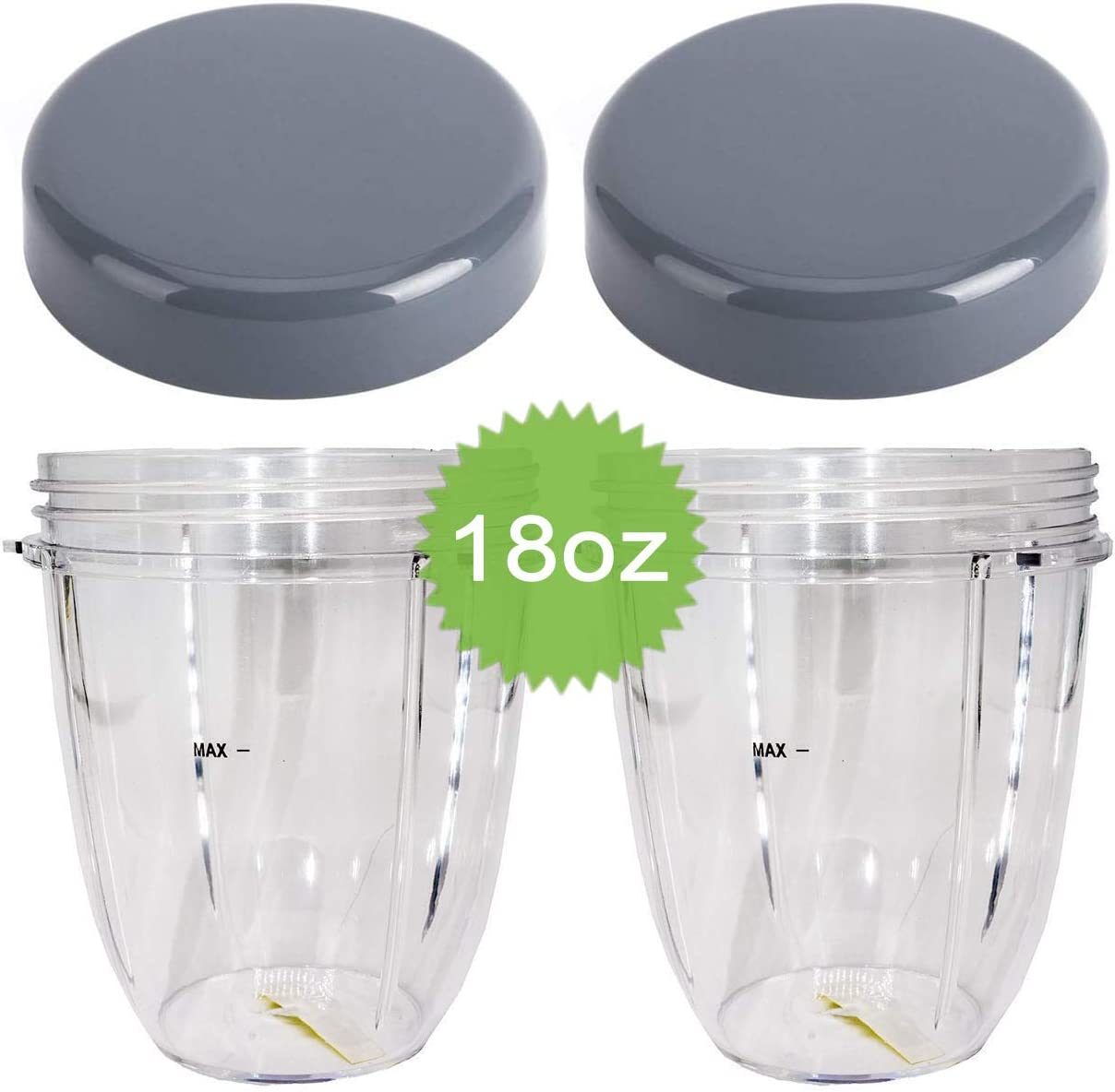 Dreld 2 Pack 18oz Cup with Flat Lid Replacement Parts Compatible with Nutribullet 600W 900W Blender Juicer