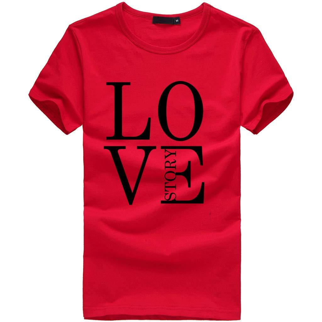 EOWEO Big 2019 Women Girls Print Tees Shirt Short Sleeve T Shirt Blouse Tops (Small,Red)