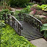 6-Ft Metal Garden Bridge in Weathered Black Finish