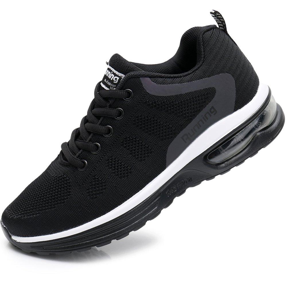 Rosone Women's Breathable Fashion Walking Sneakers Lightweight Athletic Tennis Running Shoes US5.5-10 (8.5 B(M) US, Black)