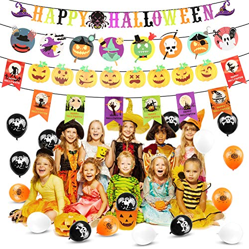 Halloween Party Decorations Set with 4 Halloween Banners 16 Balloons Party Favors for Halloween Party Hanging Decoration (Multicolored) -