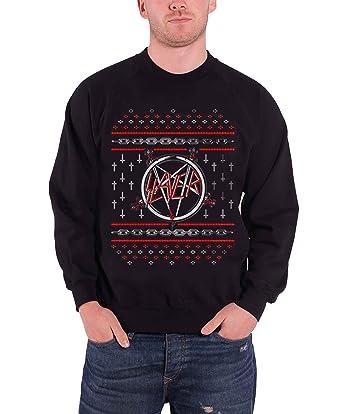 slayer pentagram logo official mens black christmas sweatshirt
