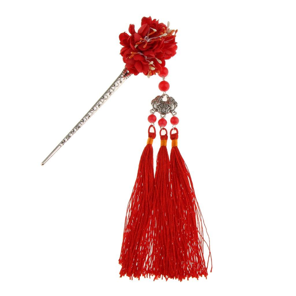 MonkeyJack Flower Hairpin Hair Stick Kanzashi Tassel Chignon Vintage for Kimono Hanfu