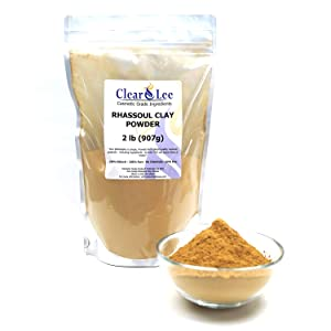 ClearLee Rhassoul Ghassoul Clay Cosmetic Grade Powder - 2 LB 100% Pure Natural Powder - Great For Skin Detox, Rejuvenation, and More - Heal Damaged Skin - DIY Clay Face Mask