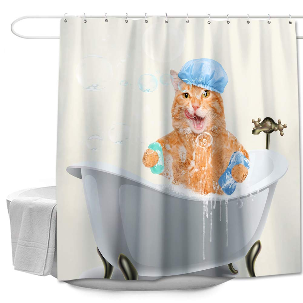 Colorful Star Kevin Is Taking A Bath Design Shower Curtain SeriesWaterproofAntibacterialEco Friendly Made Of 100 Polyester FabricNon ToxicOdor