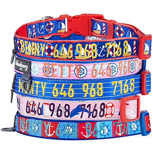 Blueberry Pet 8 Patterns Personalized Dog Collar, Nautical O