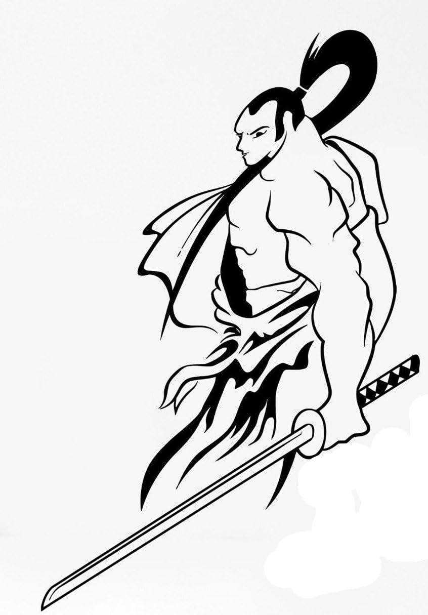 Samurai Japan Warrior Sword Cool sellos de goma sellos personalizados: Amazon.es: Juguetes y juegos