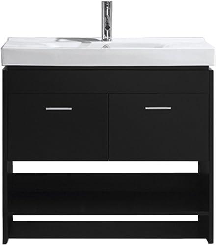 Virtu USA MS-555-C-ES-001 Gloria 36″ Single Bathroom Vanity White Ceramic Top and Square Sink
