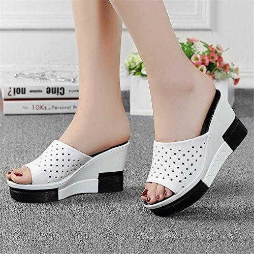 Dicke B Sommer größe Elegante EU40 weibliche heeled Pantoffeln Sandalen 2 1 Farbe Art Tragbar LIXIONG CN40 5 high Modeschuhe A Weisesandelholze und UK6 Piste Sohlen mit xfHSq8wWn