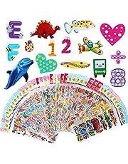 Vicloon Naklejki 3D dla dzieci, 40 arkuszy, naklejki 3D, 1000+ opuchnięte naklejki do scrapbookingu, w tym naklejki alfabetowe, naklejki owocowe, naklejki z emotikonami i wiele więcej