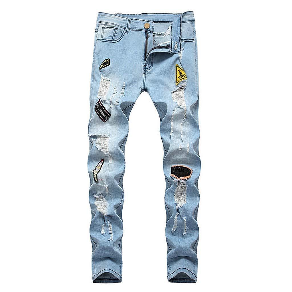 Pantalones Vaqueros Deportivos Hombres Rotos Pitillo Originales Slim Fit Skinny Pantalones Casuales Elasticos Agujero Pantalón Personalidad Slim fit ...