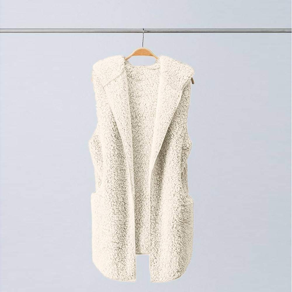 Lmx+3f Womens Plush Vest Winter Warm Hoodie Outwear Casual Sleeveless Coat Jacket Solid Color Soft Comfy Coats Beige by Lmx+3f Coat (Image #3)