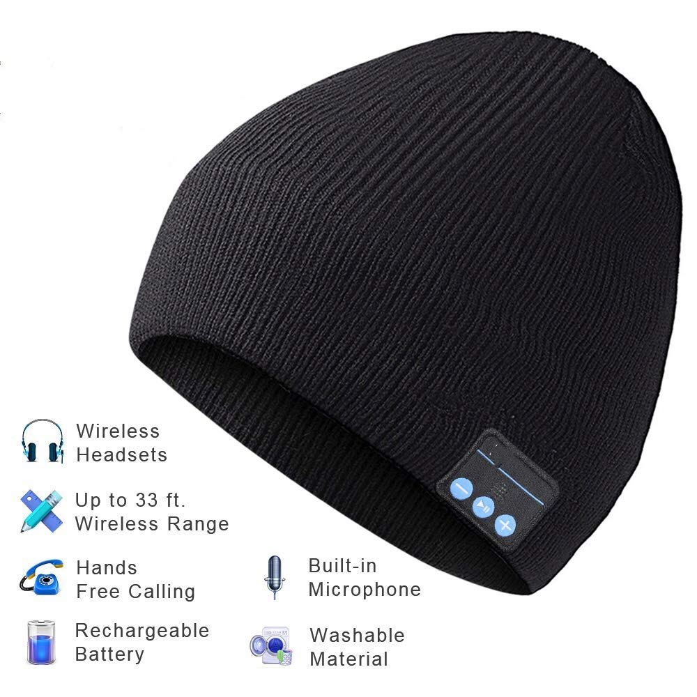 Auriculares Bluetooth Hat Bluetooth Beanie Winter Knitted Beanie Cap con Inalambrico Stereo para Correr Skiing Camping H