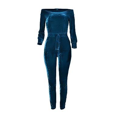 80b93237511 Kaured Fashion Slash Neck Long Sleeve Gradient Velvet Rompers Womens  Jumpsuit Club Wear Jumpsuit Romper Deep