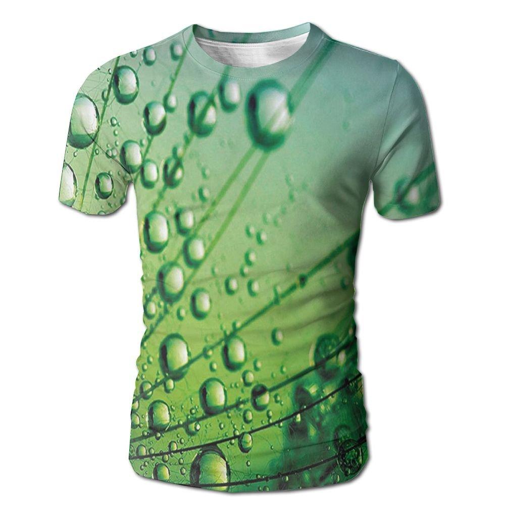 Edgar John Floral Theme Macro Photo of Dandelion Seeds with Water Drops Digital Men's Short Sleeve Tshirt XXL