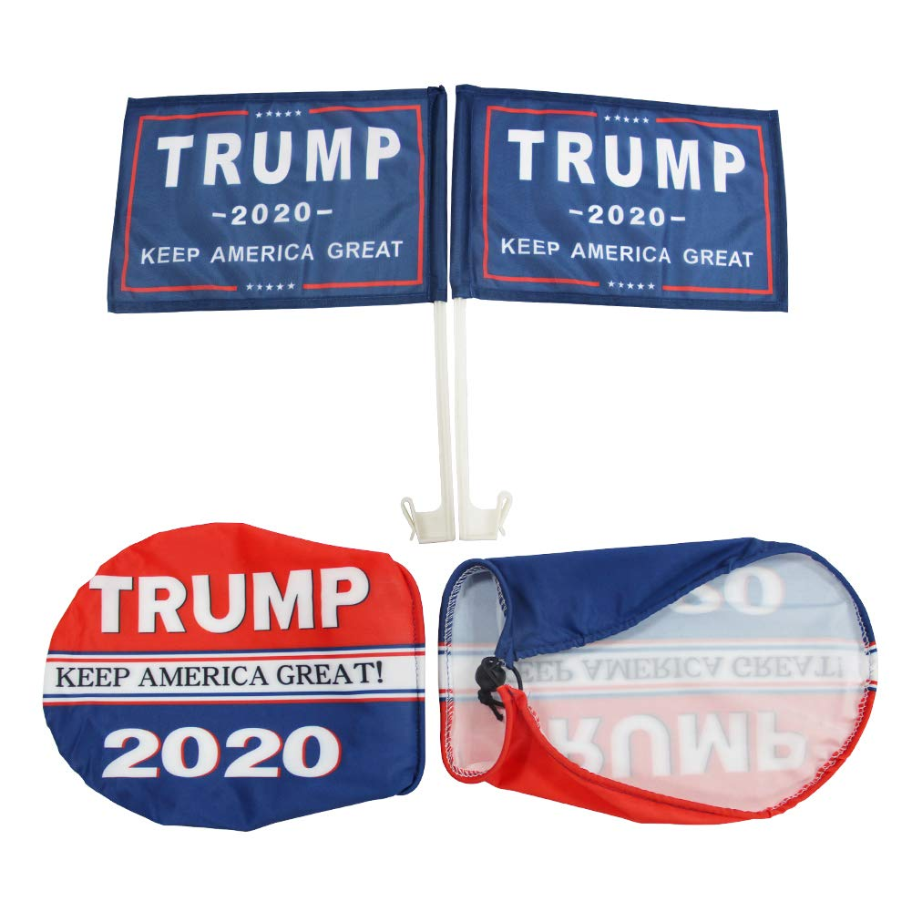 QSUM Donald Trump 2020 Side Mirror Cover and Flag Kit for Cars SUV Truck Van with Adjustable Drawstring and Car Flag Pole 4Pack