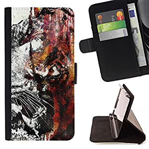 Momo Phone Case / Flip Funda de Cuero Case Cover - Tiger Graffiti;;;;;;;; - LG G4 Stylus H540