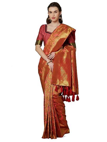 40a79dbb0dfc4a SareeShop Women s Silk Mustard Jacquard sarees (Moukthika-Mustard)  Amazon. in  Clothing   Accessories
