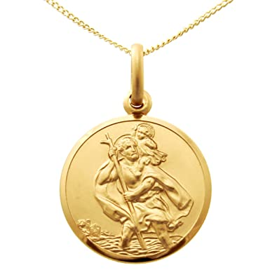f6ba2a58373 9ct Gold St Christopher Pendant Medal - 18mm - with 18