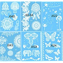 Xiaoyu Henna & Lace Tempoary Tattoo Sticker for Women Teens Girls, Pack of 6 Sheets, White