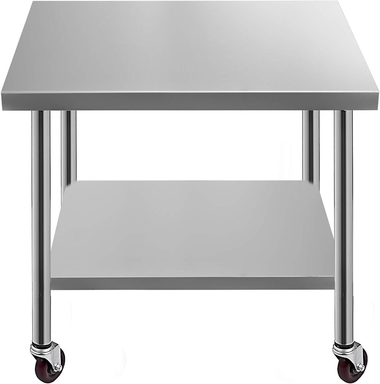 Succebuy Table de Travail de Restauration en Acier Inoxydable 762 x 457 mm avec 4 Roues Table de Travail Professionnelle pour la Pr/éparation des Aliments