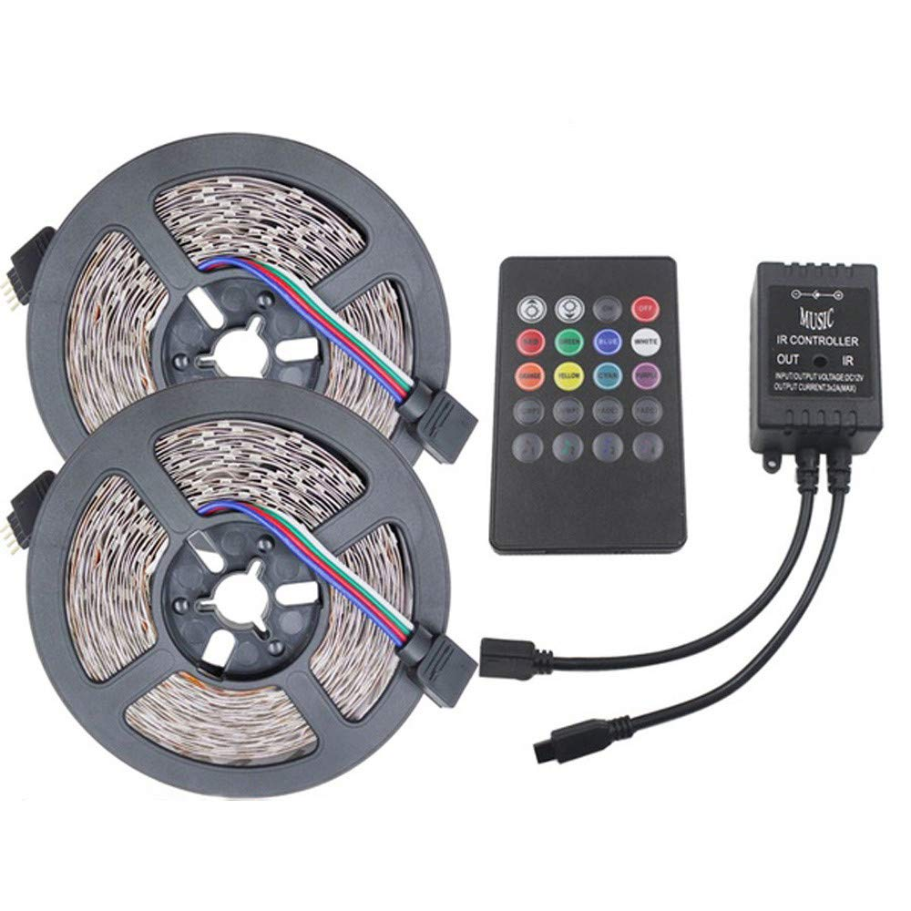 3528 RGB LED Strip Flexible Light 10M 600Led/m Music IR Remote Controller DC12V