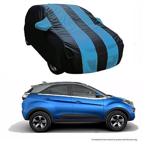 MotRoX Dual Tone Stripe Car Body Cover for Tata Nexon (Navy Blue with Royal  Blue Stripe)