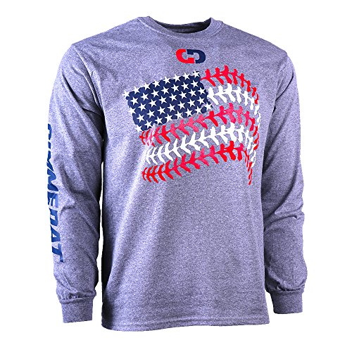 GIMMEDAT Customizable! Softball Seams American Flag Long Sleeve Softball Shirt – Personalize with Name and Number – DiZiSports Store