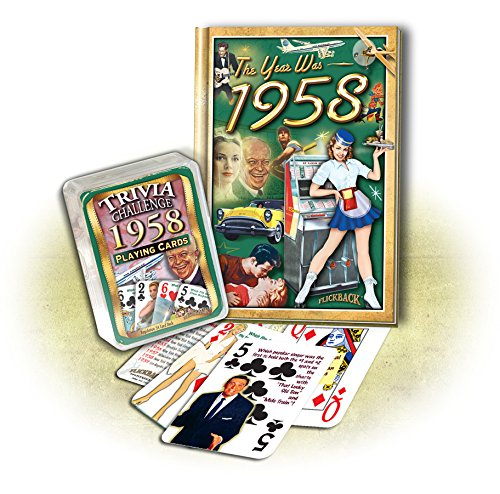 1958 Mini Book & Trivia Playing Cards Combo Gift: 60th Birthday or Anniversary gift pdf epub