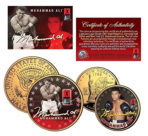 - Muhammad Ali 24KT GOLD Plated U.S. Kennedy Half Dollar & New York Statehood Quarter! COA & DISPLAY STANDS!