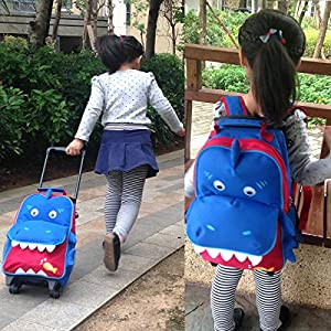 Yodo Zoo 3-Way Toddler Backpack with Wheels or Little Kids Rolling Suitcase Luggage, with Front Pouch and Side Bottle Holders, for toddler boys and girls, Shark