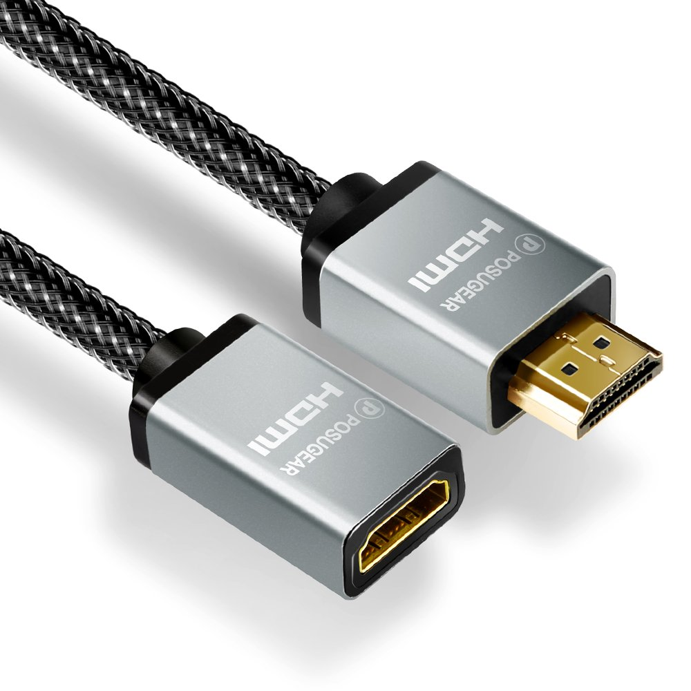 Cable Alargador HDMI,Posugear Nylon Trenzado Prolongador HDMI Macho a Hembra 2.0,Alta Velocidad con Ethernet,Ultra HD 4k,3D,Full HD 1080p,ARC,HDR para HDTV,Proyectores,PS3,PS4,Xbox etc (1M)