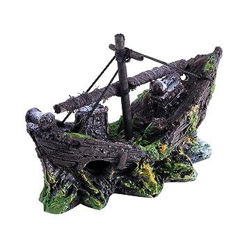 Petyoung Adorno de Resina para Acuario, pecera, Paisaje, bajo el Agua, decoración de Cuevas, con Orificios para pequeñas Mascotas para Nadar a través: ...