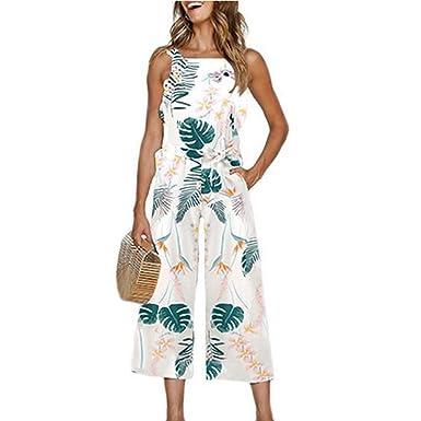5957c1ab9c50 Amazon.com  INIBUD Jumpsuits for Women Floral Leaf Waist Tie Wide Leg  Chiffon Cute Loose Sleeveless Cute Summer  Clothing