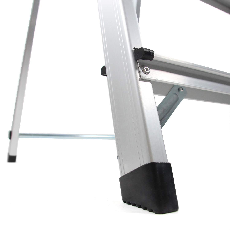 bis 150kg belastbar hjh OFFICE 801103 Trittleiter SOLID Aluminium Klappleiter mit 3 Stufen beidseitig begehbar