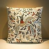 Milesky Embroidery Throw Pillow Case Decorative Cotton 18x18 (Phoenix Stone)
