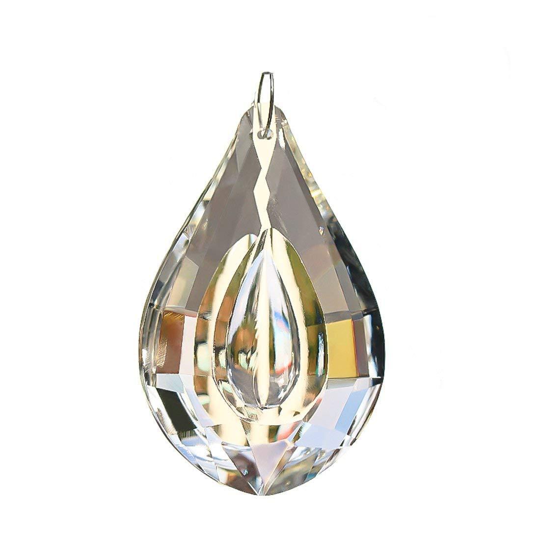 H&D 10Pcs 63mm Clear Large Loquat Style Crystal Beads Drop Pendants Chandelier Curtain Lamp Chain Prisms for Wedding Party Centerpieces Decoration