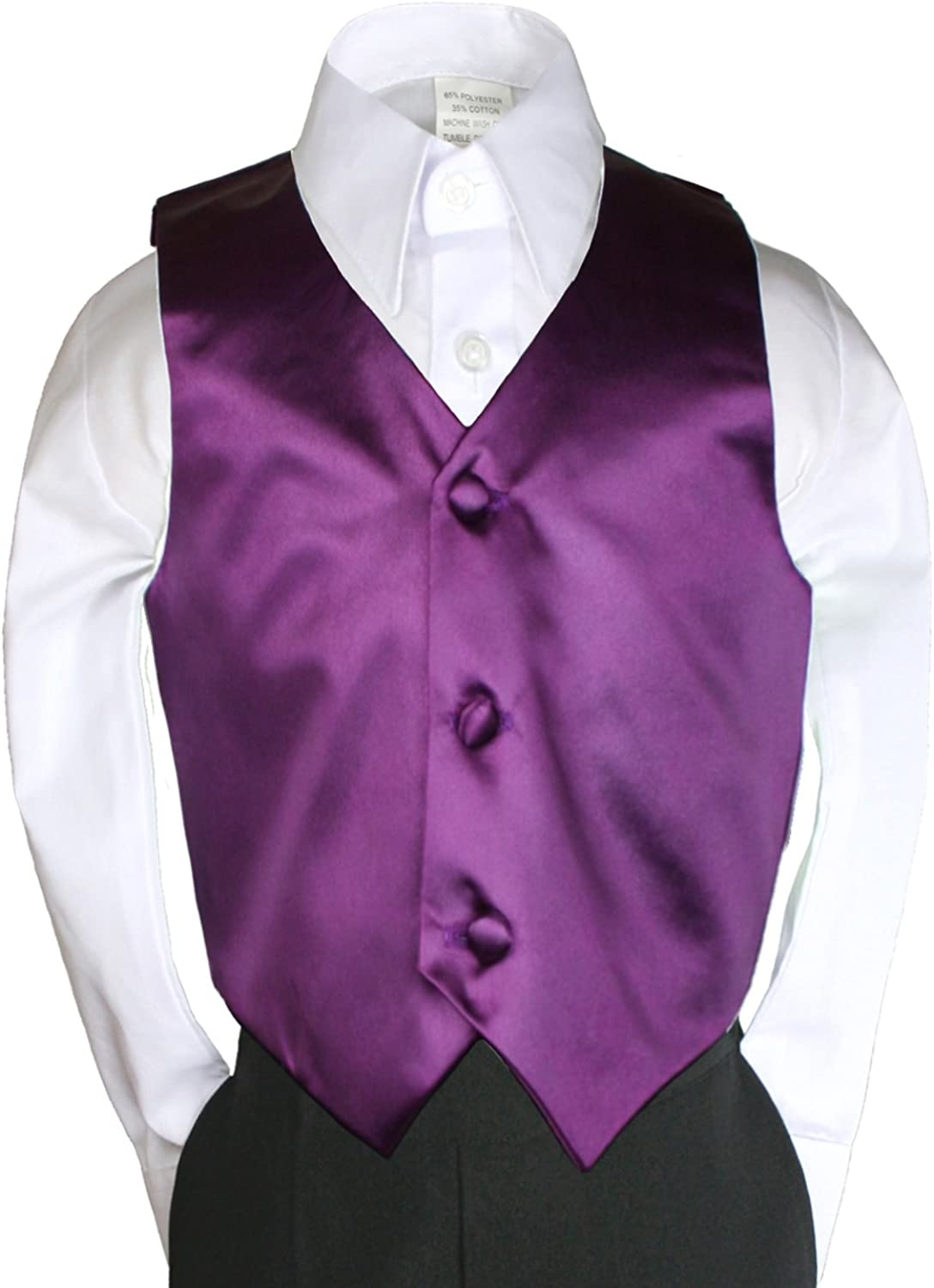 Eggplant Satin Vest Only for Baby Kid Teen Boy Wedding Party Formal Suit sz Sm-28