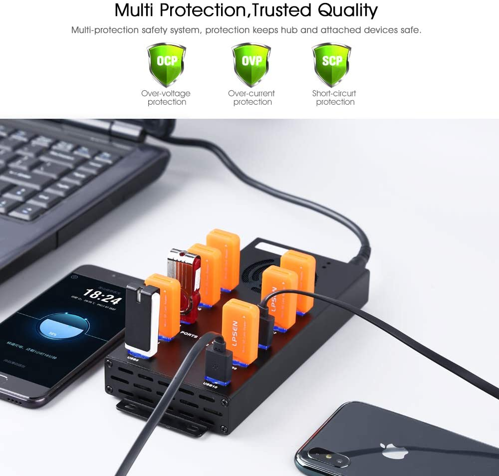 10 Ports USB Data Hub-Industrial USB Powered Hub Sipolar-USB Hub USB 2.0 Hub for Mining Bitcoin Miner