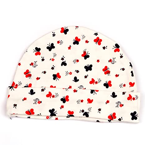 f0df3372a9e Pikaboo Cute Butterfly Printed Newbron Baby Cap (0 to 3 Months)  Amazon.in   Baby