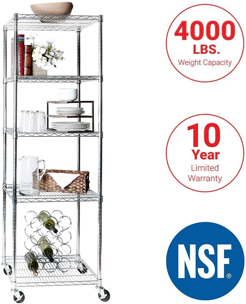 """Seville Classics UltraDurable Commercial-Grade 5-Tier NSF-Certified Steel Wire Shelving with Wheels, 24"""" W x 18"""" D x 72"""" H, Chrome (Renewed)"""