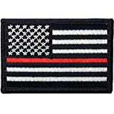 """Tactical USA Flag Firefighter Fire & Rescue EMT EMS Thin Red Line Patch - Black & White 2""""x3"""" Velcro Backing - By Ranger Return (USAF-0RED-LINE)"""