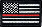 rescue merchandise - Tactical USA Flag Firefighter Fire and Rescue EMT EMS Thin Red Line Patch - Black White 2
