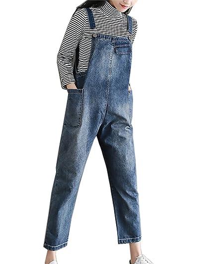 6c9615fce01e7 Salopette Jean Demin Pantalons Femmes Combinaison Large A Bretelles Casual  Combinaison Grande Taille Bleu XL