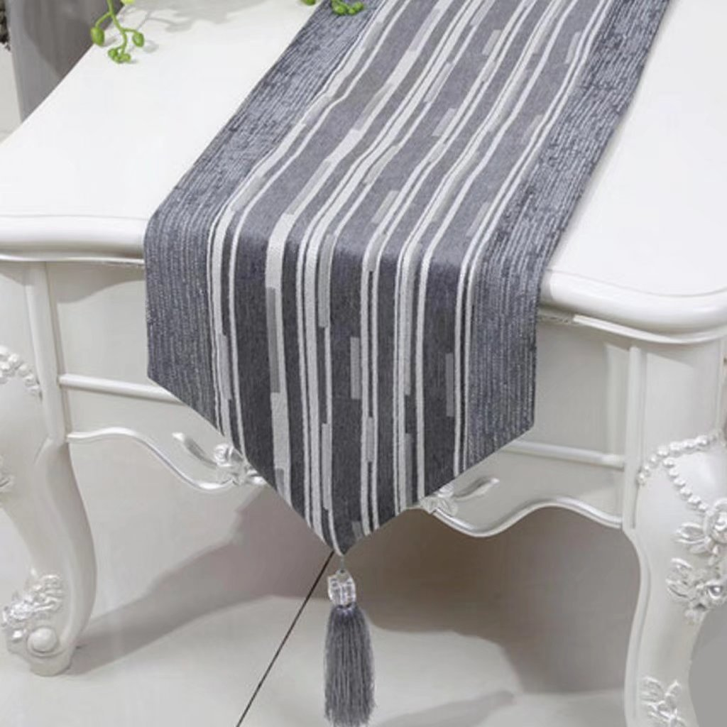 KKY-Enter Table Runner Silver Grey Mantel de Lino Moderno Moderno ...