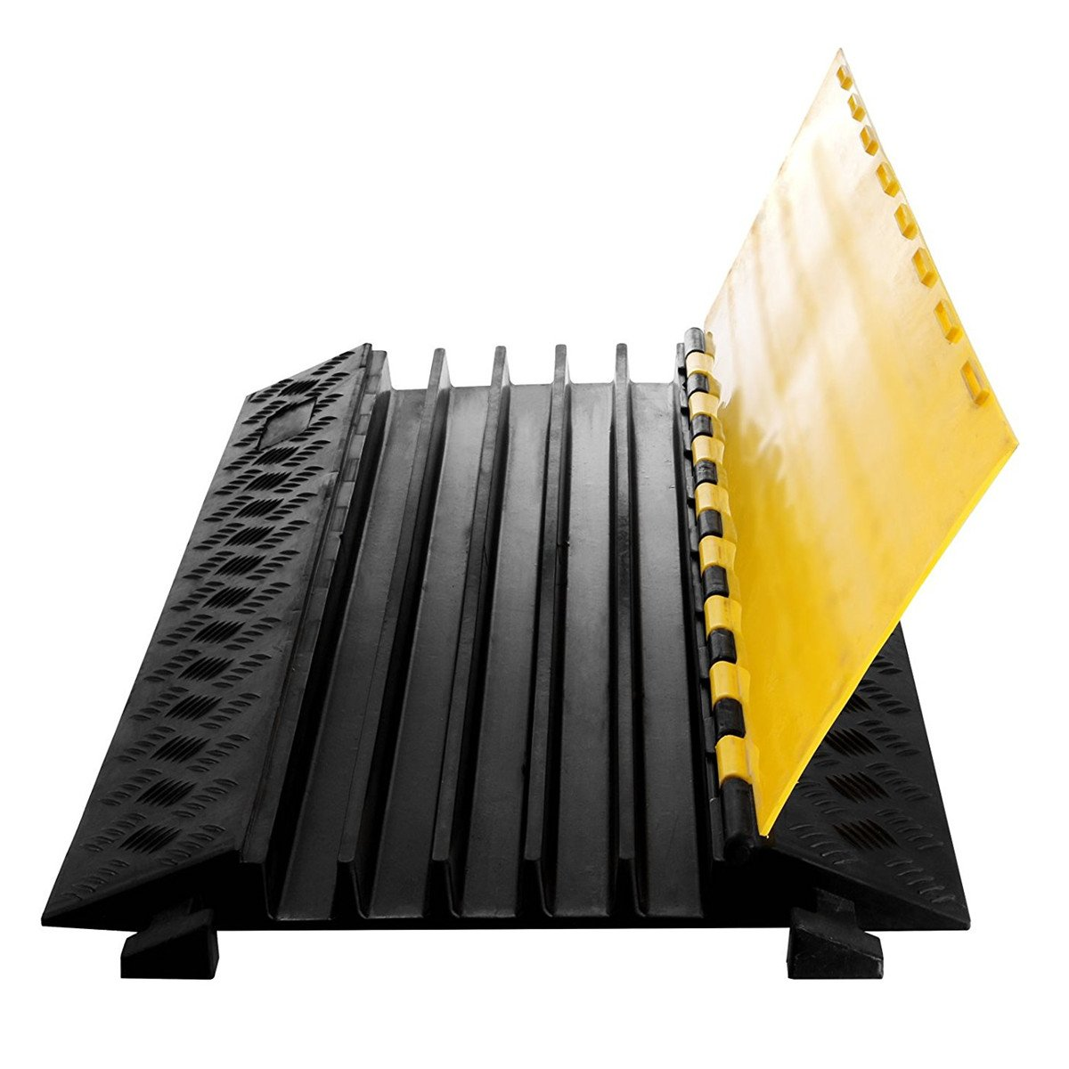 BestEquip 5 Channel Cable Protector 18000 LBS Capacity Extreme Rubber Cable Protector Cable Protector with Black Ramp and Yellow lid Connector for Cable and Wire Protect